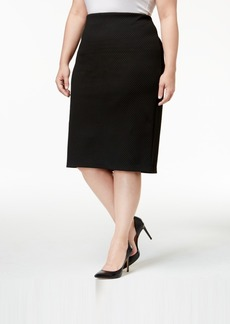 Alfani Plus Size Textured Pencil Skirt, Only at Macy's