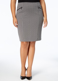 Alfani Plus Size Textured Zip-Detail Skirt, Created for Macy's