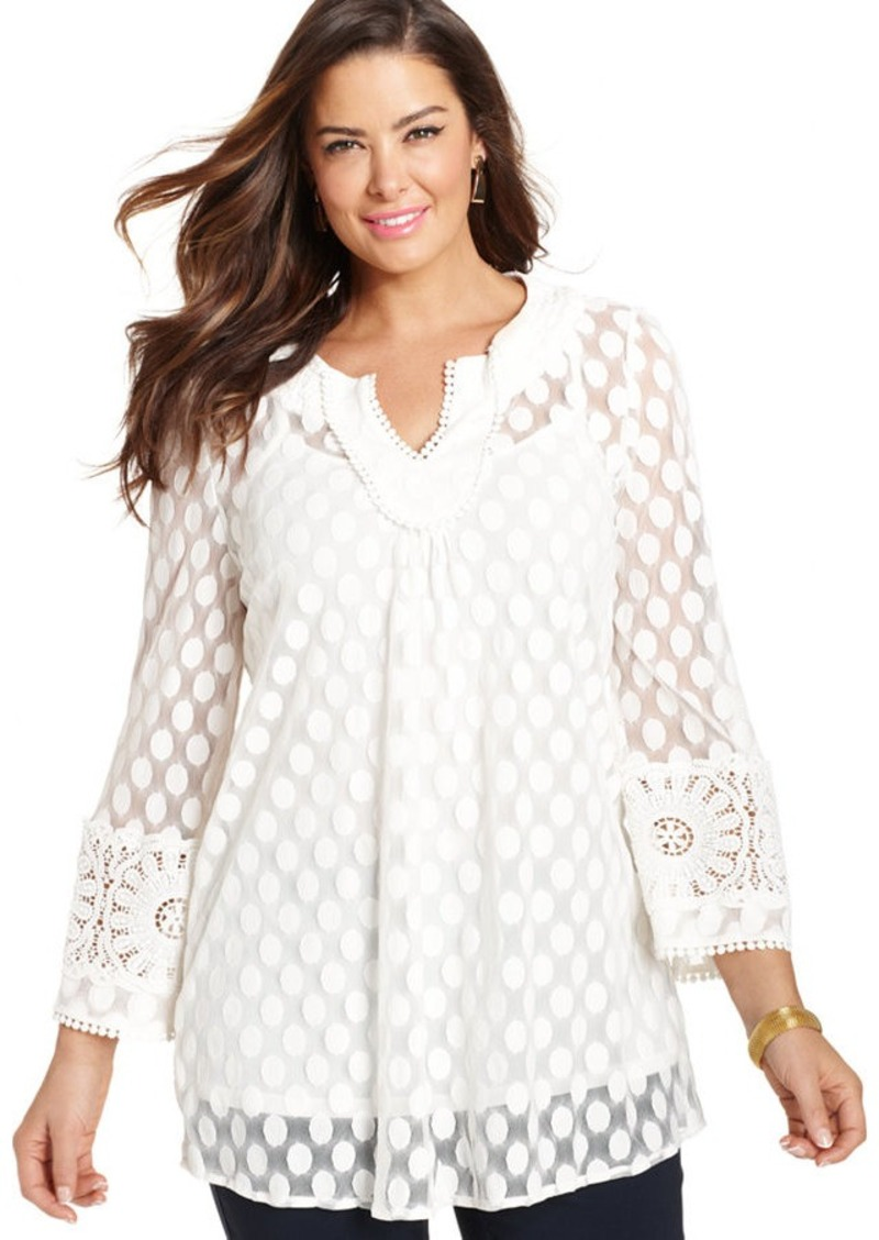 Alfani Plus Size Three-Quarter-Sleeve Dot Lace Tunic Top