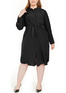 Alfani Plus Size Tie-Front Shirtdress, Created For Macy's