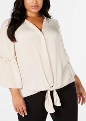 Alfani Plus Size Tie-Hem Lantern-Sleeve Top, Created for Macy's