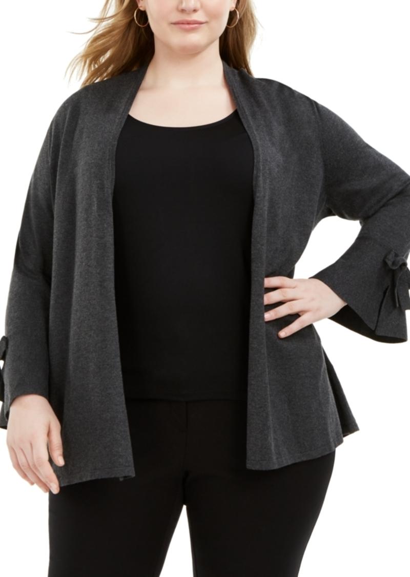 Alfani Plus Size Tie-Sleeve Cardigan, Created for Macy's