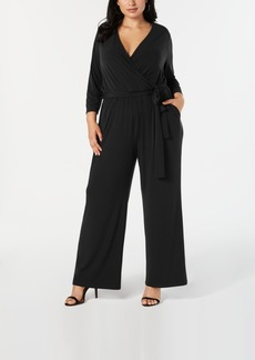 Alfani Plus Size Tie-Waist Jumpsuit, Created for Macy's
