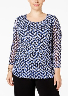 Alfani Plus Size Tiered Printed Mesh Top, Only at Macy's