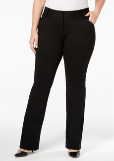 Alfani Plus Size Tummy-Control Faux-Leather Trim Trousers, Created for Macy's