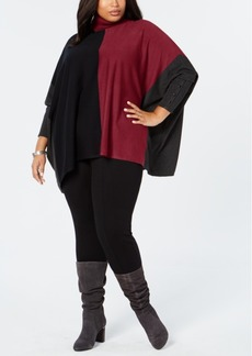Alfani Plus Size Turtleneck Colorblock Poncho Sweater, Created for Macy's