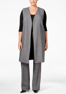 Alfani Plus Size Tweed Open-Front Vest, Only at Macy's