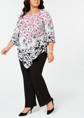 Alfani Plus Size V-Hem Blouse, Created for Macy's