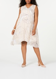 Alfani Plus Size V-Neck Printed-Overlay Dress, Created for Macy's