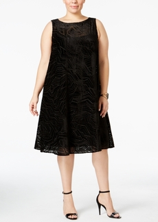 Alfani Plus Size Velvet Burnout Shift Dress, Only at Macy's
