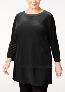 Alfani Plus Size Velvet Chiffon-Hem Top, Only at Macy's
