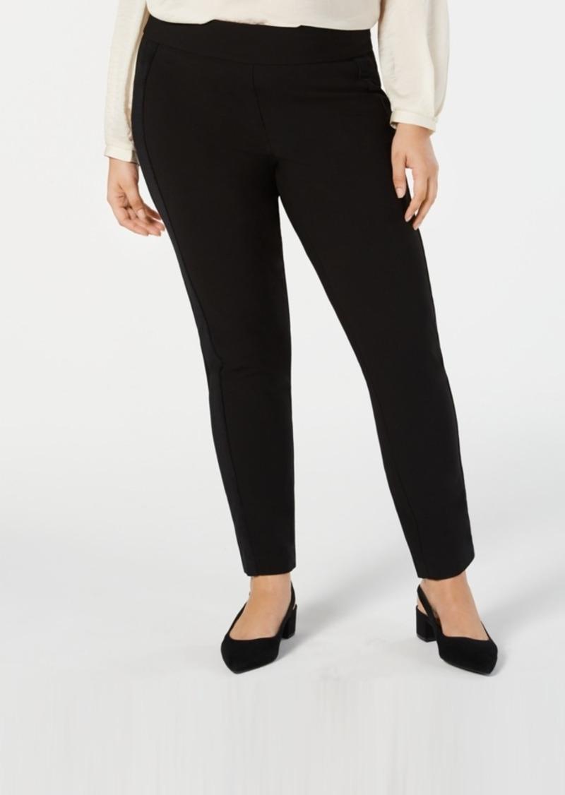 Alfani Plus Size Velvet-Stripe Pull-On Pants, Created for Macy's