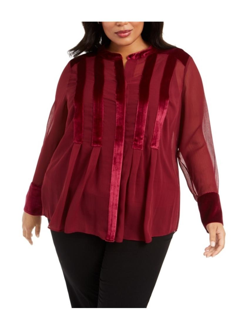 Alfani Plus Size Velvet-Trim Blouse, Created For Macy's