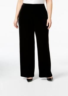 Alfani Plus Size Velvet Wide-Leg Pants, Created for Macy's