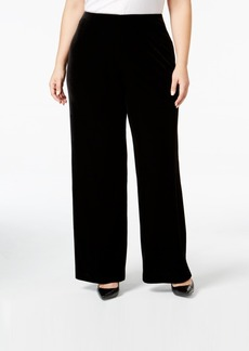 Alfani Plus Size Velvet Wide-Leg Pants, Only at Macy's