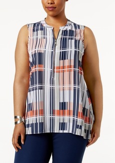 Alfani Plus Size Zip-Front Printed Tunic, Only at Macy's