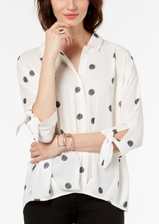 Alfani Polka-Dot Tie-Cuff Blouse, Created for Macy's