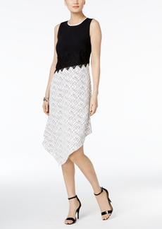 Alfani Prima Asymmetrical Contrast Dress, Only at Macy's