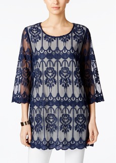 Alfani Prima Embroidered Illusion Tunic, Created for Macy's