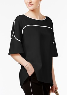 Alfani Prima Flutter-Sleeve Piped Blouse, Created for Macy's