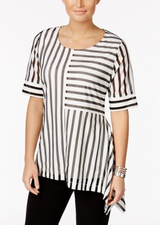 Alfani Petite Striped Mesh Asymmetrical Top, Only at Macy's