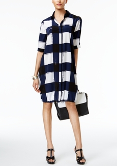 Alfani Prima Printed Bungee-Hem Shirtdress, Only at Macy's