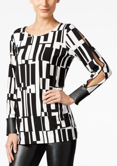 Alfani Prima Printed Split-Sleeve Top, Only at Macy's