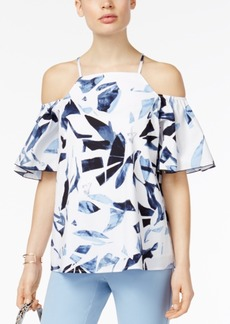Alfani Petite Printed Cold-Shoulder Top, Created for Macy's