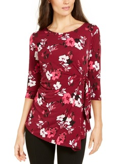 Alfani Printed 3/4-Sleeve Asymmetric Top, Created for Macy's