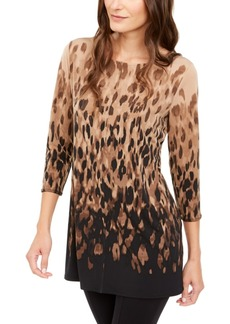 Alfani Printed 3/4-Sleeve Tunic, Created for Macy's