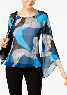 Alfani Petite Printed Angel-Sleeve Blouson Blouse, Created for Macy's