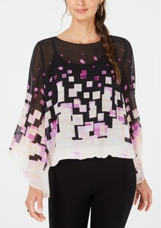 Alfani Printed Angel-Sleeve Bubble-Hem Blouse, Created for Macy's