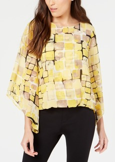 Alfani Printed Angel-Sleeve Top, Created for Macy's