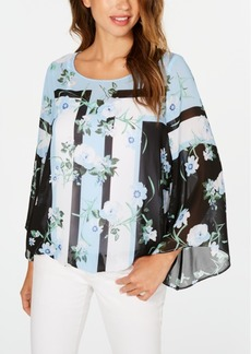 Alfani Petite Printed Angel-Sleeve Blouse, Created for Macy's