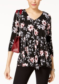 Alfani Petite Printed Draped Top, Created for Macy's