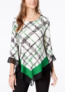 Alfani Printed Asymmetrical-Hem Top, Created for Macy's