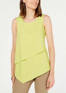 Alfani Printed Asymmetrical-Overlay Top, Created for Macy's