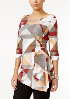 Alfani Petite Printed Asymmetrical Hardware Top, Only at Macy's