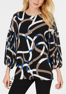 Alfani Printed Balloon-Sleeve Top, Created for Macy's