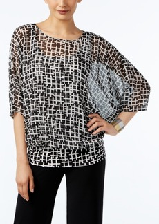 Alfani Printed Banded-Hem Top, Only at Macy's