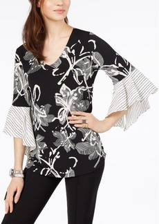 Alfani Floral-Print Ruffle-Sleeve Top, Created for Macy's
