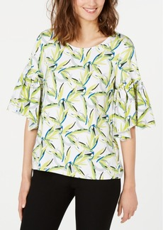 Alfani Printed Bell-Sleeve Top, Created for Macy's