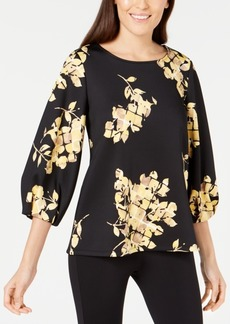 Alfani Printed Bishop-Sleeve Top, Created for Macy's