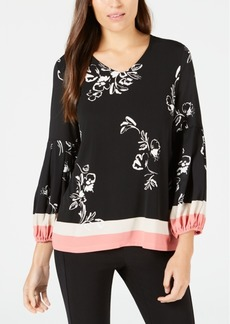 Alfani Printed Bishop Sleeve Top, Created for Macy's