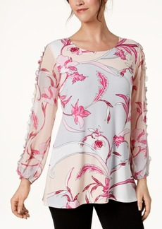 Alfani Petite Printed Ruffle-Trim Tunic, Created for Macy's