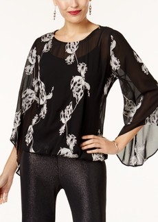 Alfani Printed Bubble-Hem Blouse, Created for Macy's