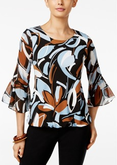 Alfani Printed Chiffon Blouson Top, Only at Macy's