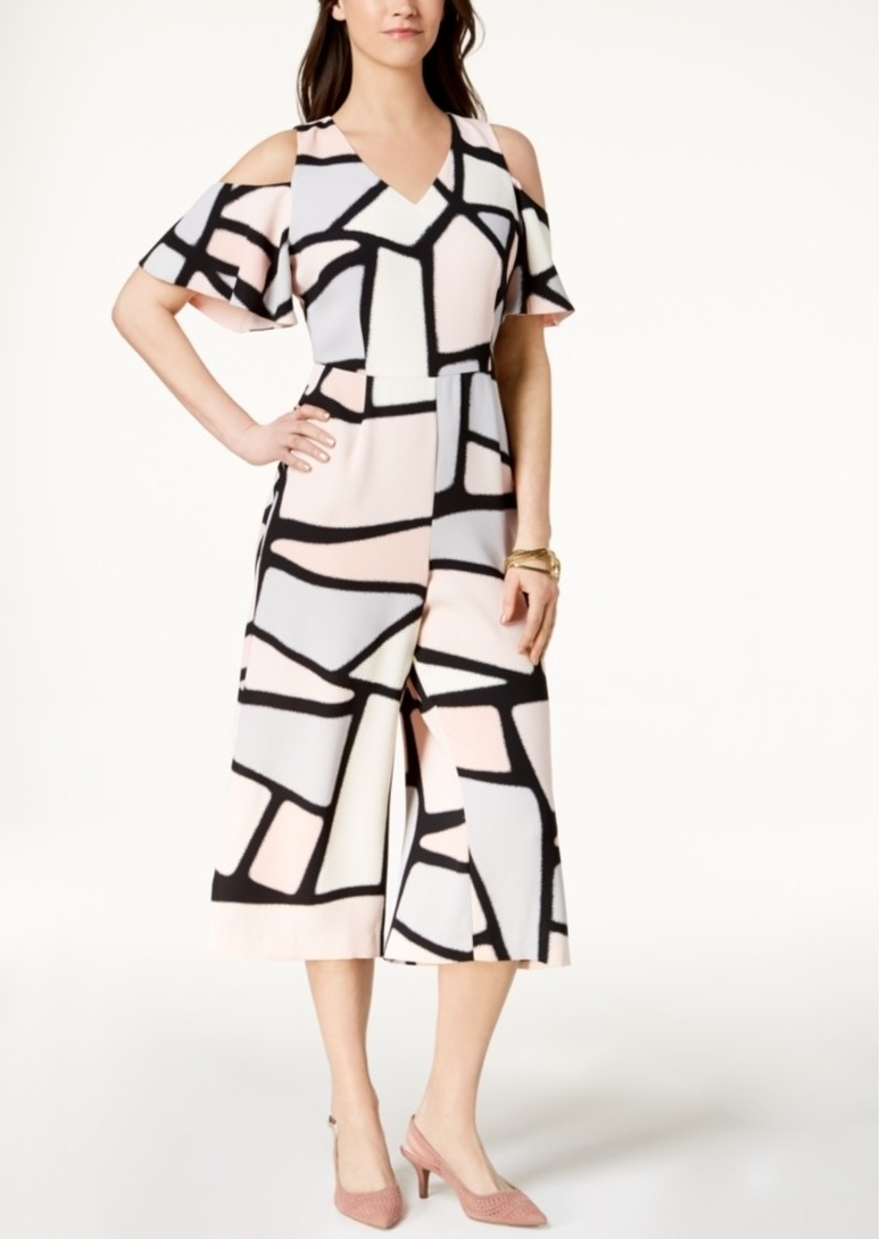 Alfani Petite Printed Cold-Shoulder Jumpsuit, Created for Macy's