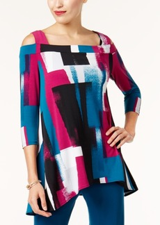 Alfani Petite Printed Cold-Shoulder Tunic, Created for Macy's