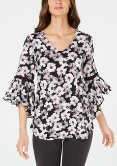 Alfani Printed Cord-Inset Top, Created for Macy's